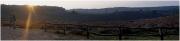 """Zonsopkomt 7.44 uur op De Posbank. De Posbank bij Rheden (Nederlandse provincie Gelderland) is de naam van een monumentale bank en van een naastgelegen theehuis, op de rand van het Herikhuizerveld, een begroeide stuwwal op de zuidelijke Veluwe. De plek heeft een hoogte van 90 meter boven NAP met uitzicht over het IJsseldal, de Achterhoek en de Liemers tot in Duitsland. Ter vergelijking: het hoogste punt op de Veluwe is het nabijgelegen """"Signaal Imbosch"""" (110 m). De uitspanning die vroeger op de Posbank stond is bij een brand in 1996 verwoest. In 2002 heeft Natuurmonumenten een nieuw theehuis laten bouwen volgens een duurzaam ontwerp. De Posbank ligt in het Nationaal Park Veluwezoom. (augustus 2017)"""